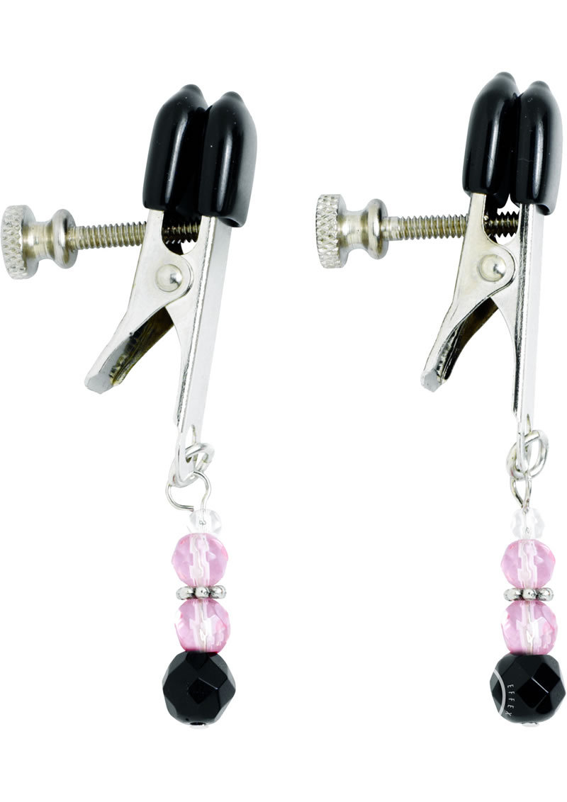 Pink Beaded Nipple Clamps With Adjustable Broad Tip Pink